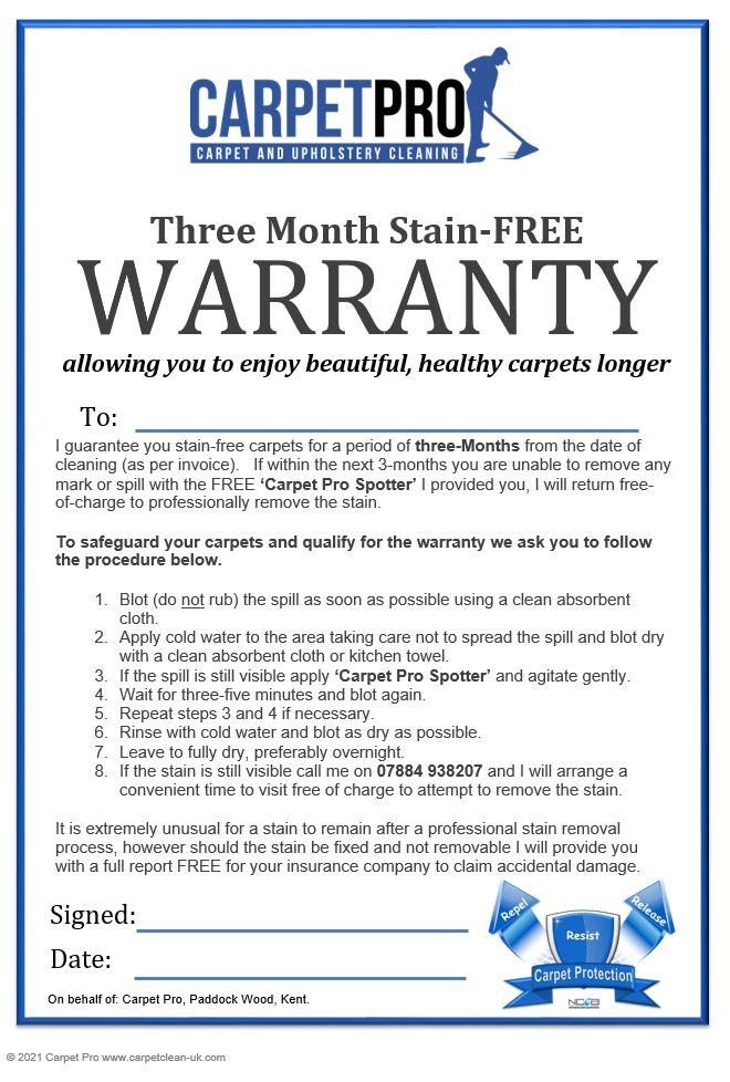Carpet Pro 3mth Warranty